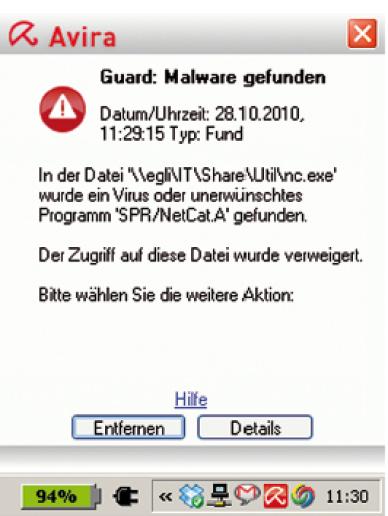 Warnmeldung des Antivirus-Programmes.