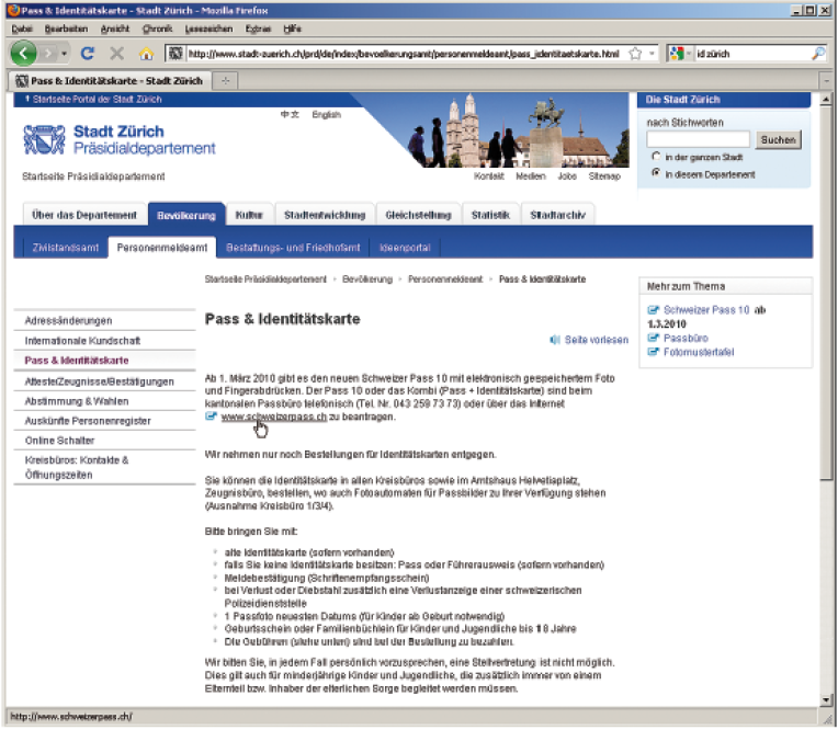 Screenshot der Seite «Pass & Identitätskontrolle». Wenn im Inhaltsbereich einer Website Links platziert werden, klicken die User oft darauf, bevor sie die Seite gelesen haben.