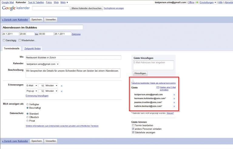 Ob die Gäste auch wirklich eine Einladung erhalten, ist bei Gmail nicht ganz klar.