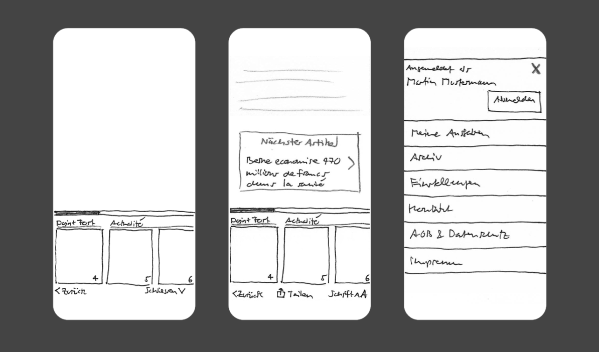 Skizzen des Startbildschirms mit Seitenvorschau; Detailseite ebenfalls mit Seitenvorschau sowie einem Link zum nächsten Artikel; aufgeklapptes Menü