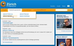 eZuerich Startseite, Auflösung 1024x768
