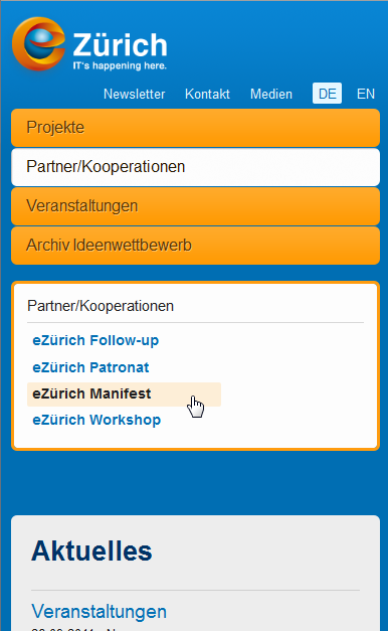 eZuerich Startseite, mobile-optimiert