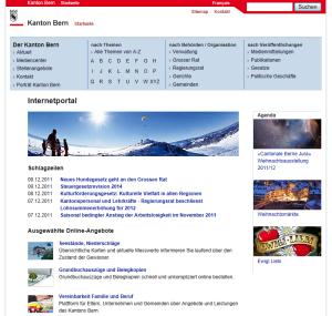Kanton Bern Portal, Startseite vor Relaunch 2011