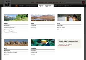 WWF Schweiz, Flyout-Menü «Projekte & Engagement»