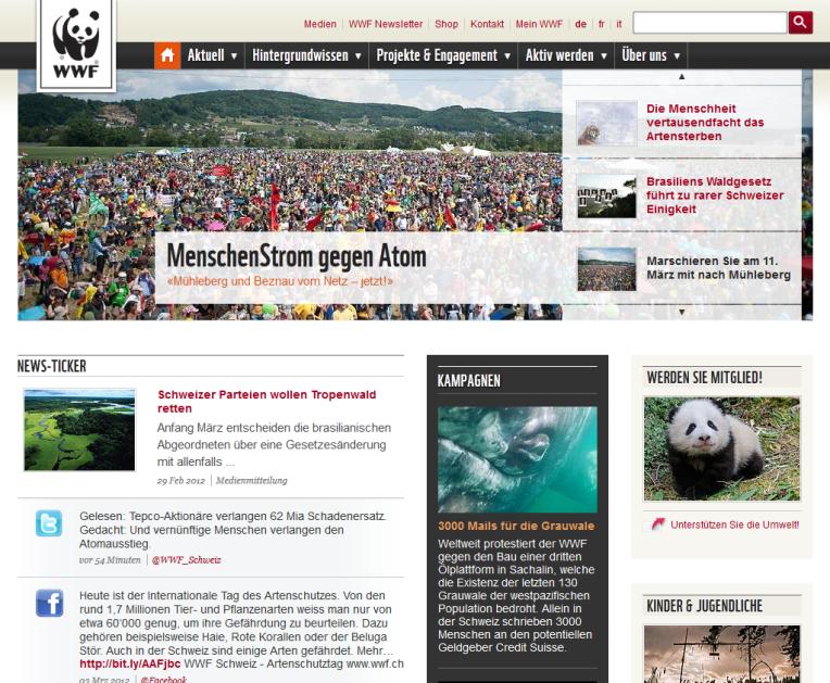 Startseite des WWF Schweiz nach dem Redesign