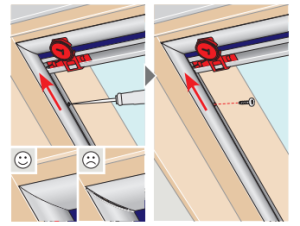 Auszug aus der Anleitung zur Montage eines Velux-Sichtschutzrollos