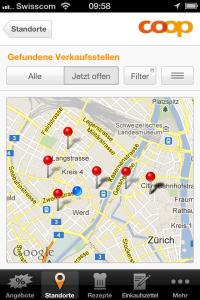 Screenshot Standortsuche (Karte) aus der Coop App