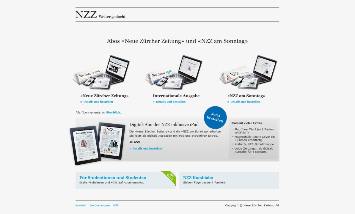 Microsite für Abonnemente der NZZ.