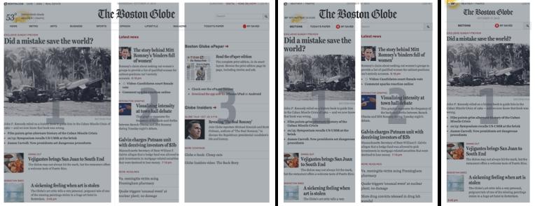 Website The Boston Globe, Desktopansicht dreispaltig, Tablet zweispaltig und Smartphone linearisiert in einer Spalte