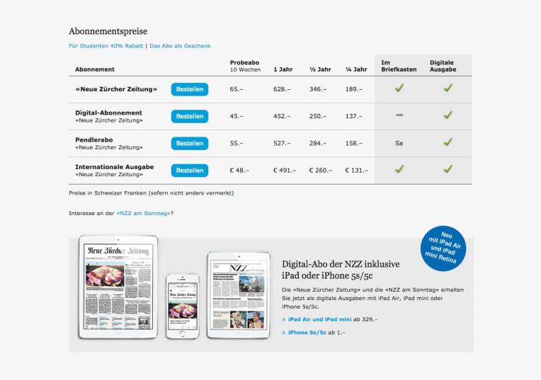 Angebotsmatrix der NZZ-Abos auf grösseren Bildschirmen