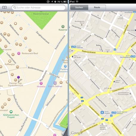 Zwei Screenshots von Apple Maps und Google Maps zum Vergleich der beiden Karten