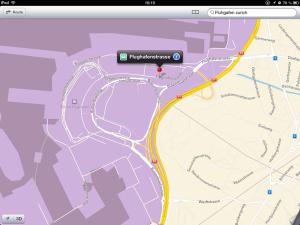 Screenshot von Apple Maps mit einem Suchtreffer bei fehlerhaftem Suchbegriff
