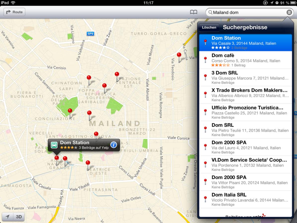 Screenshot von Apple Maps mit Suchtreffern zu «Mailand Dom»