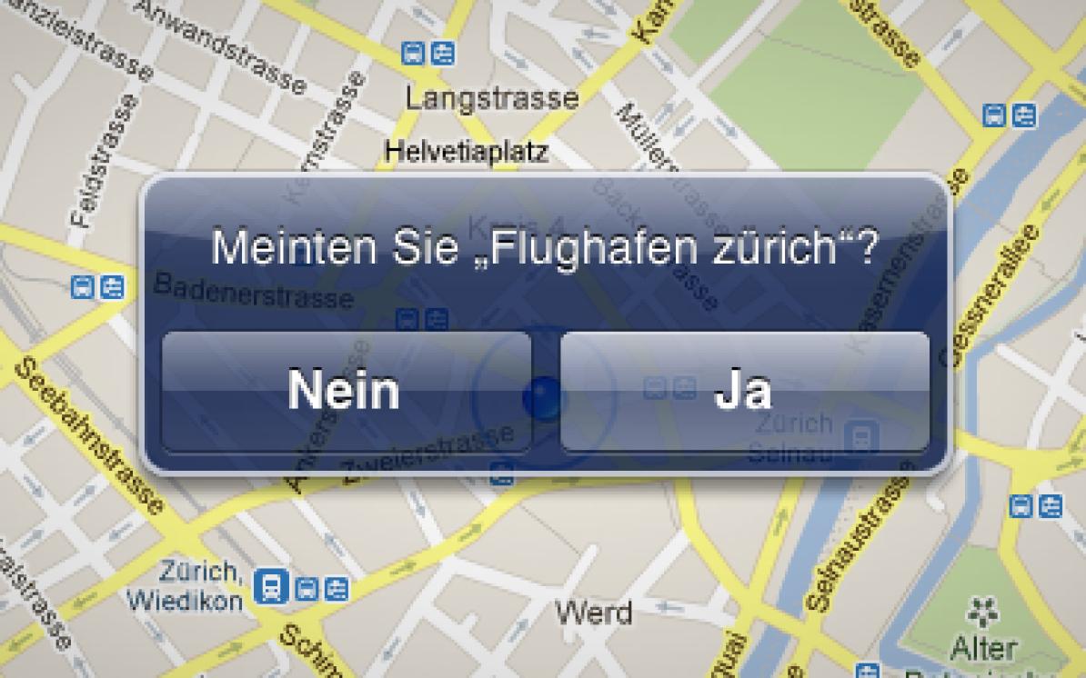 Screenshot von Google Maps mit der Frage Meinten Sie Flughafen Zürich?