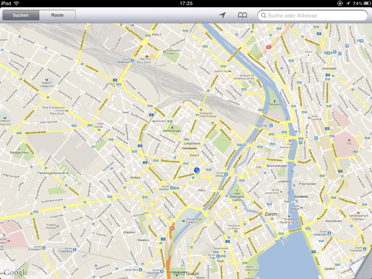 Screenshot von Google Maps mit einer Karte, bei der die Schrift zu klein dargestellt wird.