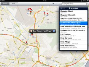 Screenshot von Google Maps mit einer Liste von möglichen Suchtreffern bei fehlerhafter Suche