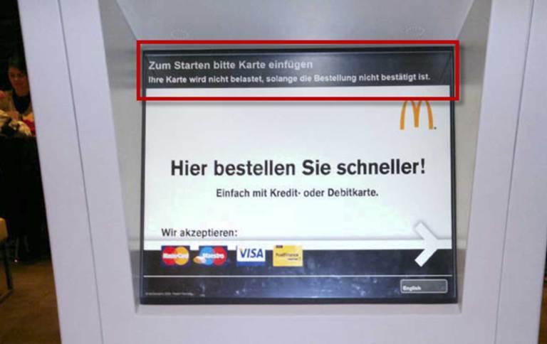 Begrüssungsscreen am McDonalds Automaten