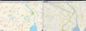 Zwei Screenshots zum Vergleich der Interfaces von Apple Maps und Google Maps