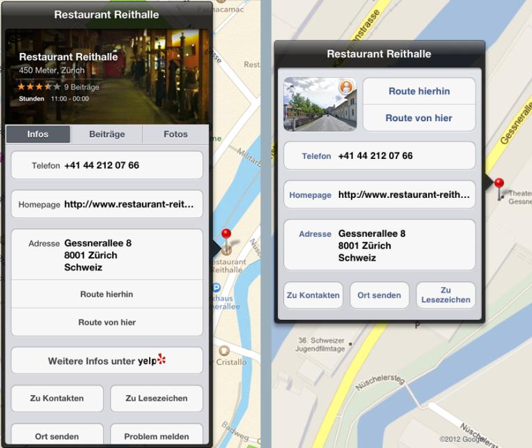 Screenshot der Location-Sprechblasen von Apple Maps und Google Maps
