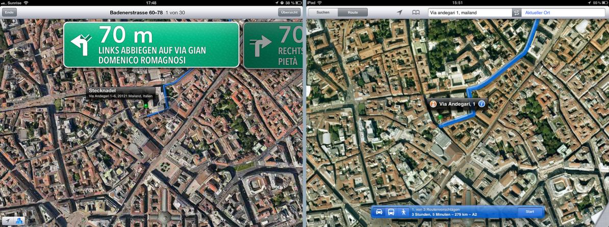 Screenshots zum Vergleich der Satellitenbilder von Apple Maps und Google Maps