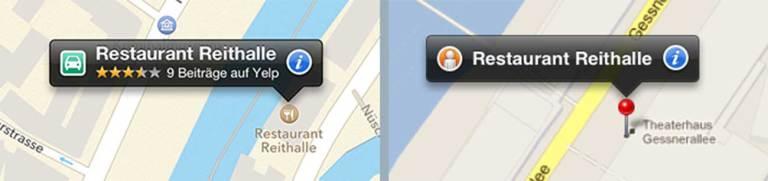Screenshots von Sprechblasen zu Locations von Apple Maps und Google Maps