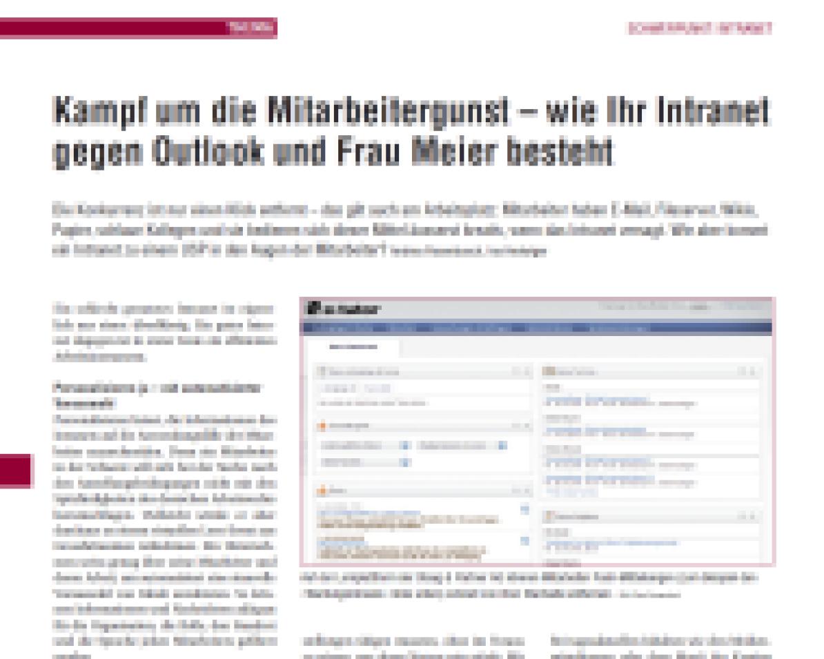 1. Seite des Netzwocheartikels «Kampf um die Mitarbeitergunst - wie Ihr Intranet gegen Outlook und Frau Meier besteht»