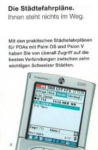 SBB-Städtefahrplan für PDAs, 2004