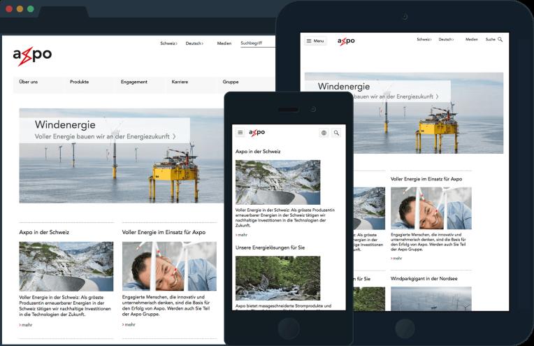 Je nach Grösse des Viewports werden neue Bildausschnitte definiert und Bilder ein- oder ausgeblendet.