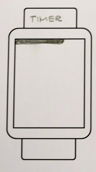 Skizze eines Smartwatch-Screens mit einem sich füllenden oder leerenden Balken am oberen Bildschirmrand als Zeitanzeige