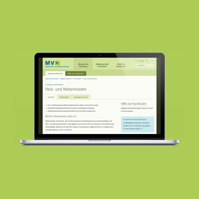 Website Mieterinnen- und Mieterverband zum Thema Heiz- und Nebenkosten