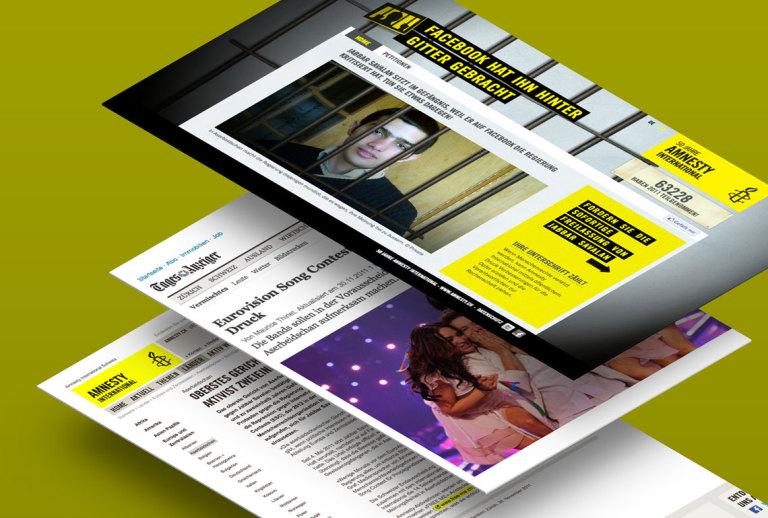 Collage von Screens zu Urgent Action von Amnesty International