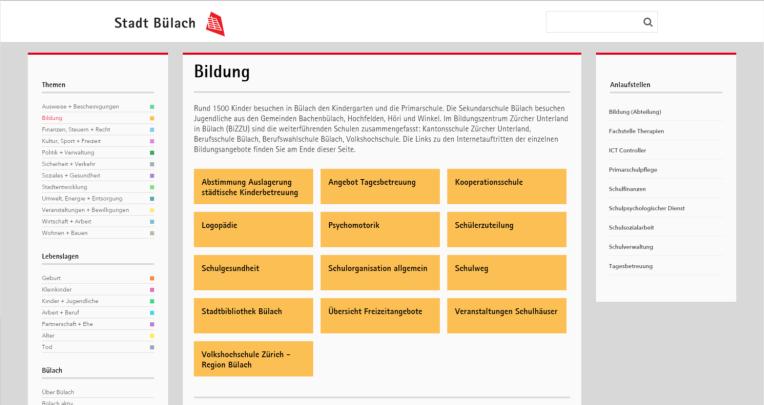 Der Screenshot zeigt Webseite der Stadt Bülach zum Thema Bildung, die für Laptops mit weniger hohem Bildschirm optimiert ist und auf der alle 13 Inhaltsteaser direkt sichtbar sind.