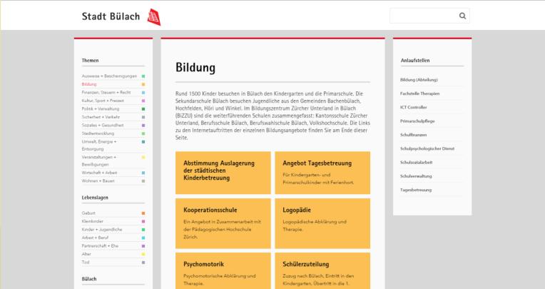 Website der Stadt Bülach zum Thema Bildung auf der nur 6 Inhaltsteaser oberhalb des Pagefolds sichtbar sind.