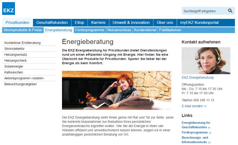 EKZ Desktop Ansicht: Die Hauptnavigation oben und die Subnavigation links sind zwei separate Elemente.