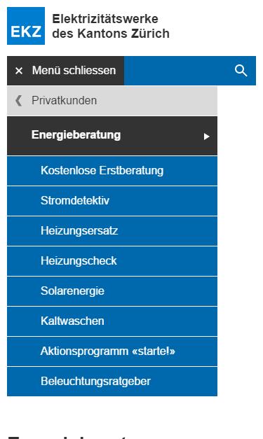 EKZ: Mobile Menu als Drilldown - Was auf Desktop in zwei separaten Listen erscheint, ist auf Mobile nur noch ein einziges Menu.