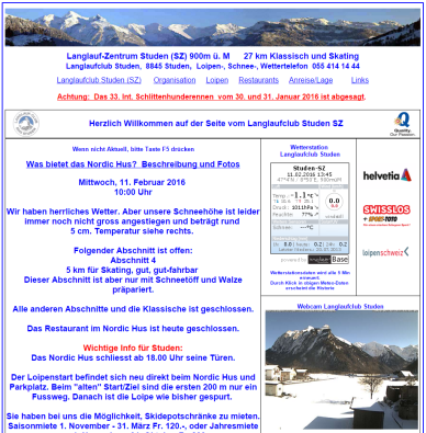 Screenshot der Website des Langlaufzentrums Studen