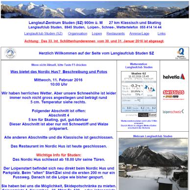Screenshot der Website der Loipe Studen