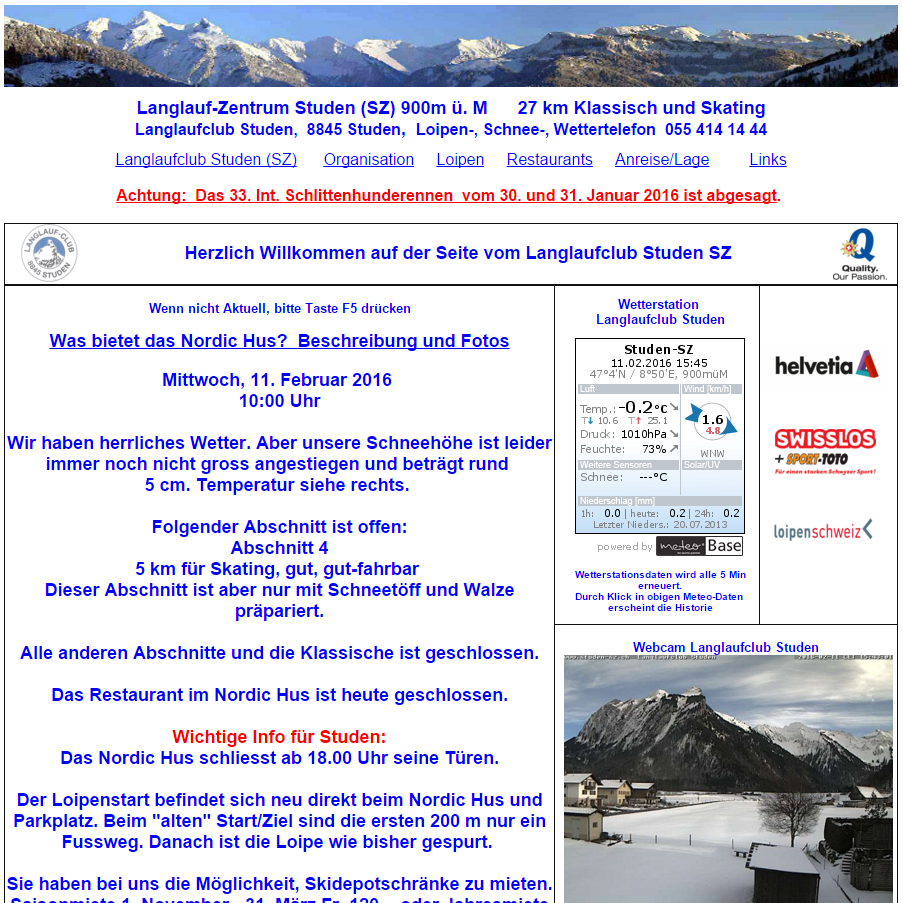 Screenshot der Website der Loipe Studen