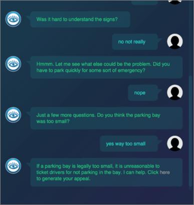 Dialogausschnitt von Lawyerbot, der anhand von Fragen Gründe findet, eine Parkbusse anzufechten.