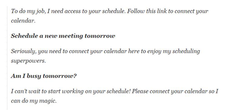Dialogausschnitt mit Chatbot Meekan, der Kalenderzugriff einfordert.