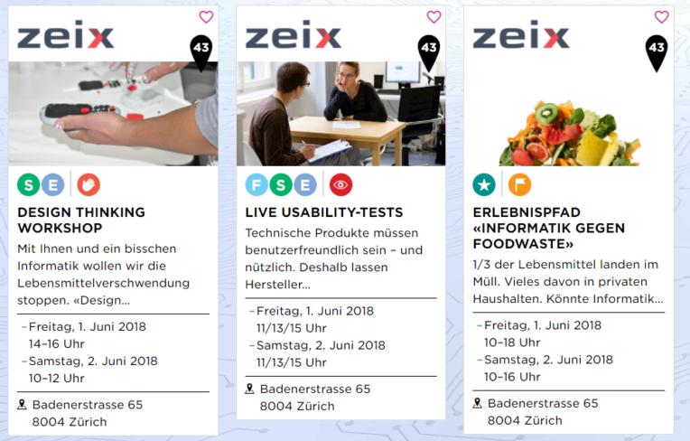 Angebote bei Zeix zu den Informatiktagen