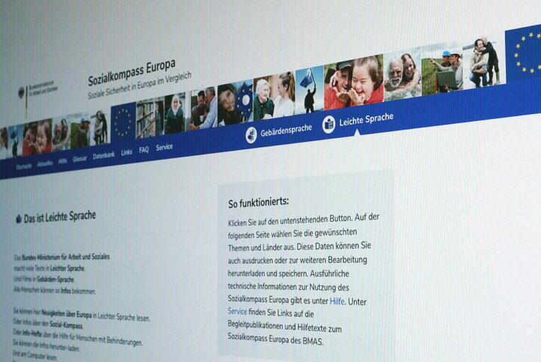 Screenshot der Servicenavigation von sozialkompass.eu