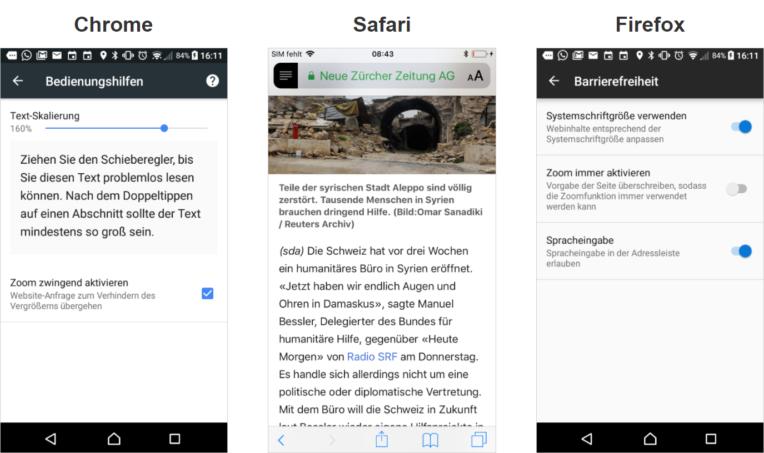 Dargestellt wir die Browser-Schriftgrössen-Verstellfunktion in Chrome, Safari und Firefox auf einem Smartphone.