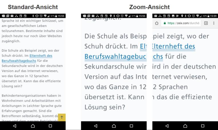 Dargestellt ist ein Ausschnitt Webseite mit Fliesstext. In der Standard-Ansicht ist der Text normal lesbar. In der gezoomten Ansicht muss die Seite links-rechts verschoben werden während dem Lesen.
