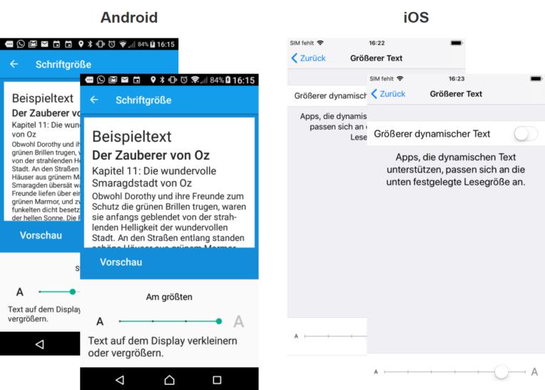 Dargestellt ist die System-Schriftgrössen-Verstellfunktion auf einem Android- und einem iOS-Smartphone. Beide erlauben, die Schrifgrösse in mehreren Stufen einzustellen und beide zeigen eine Vorschau des vergrösserten/verkleinerten Textes.