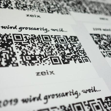 Linoldruck der Zeix-Neujahrskarte 2019