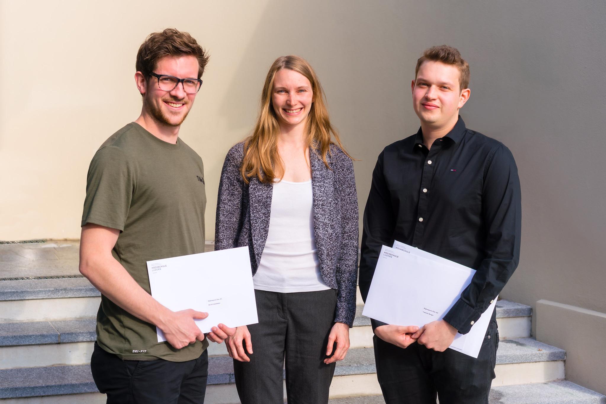Gruppenfoto mit David Gabathuler, Stefanie Hirsiger (Zeix) und Valentin Berger