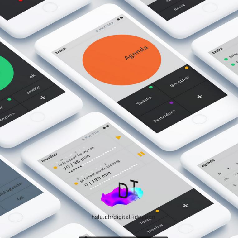 Screenshots aus der mobile App Taask