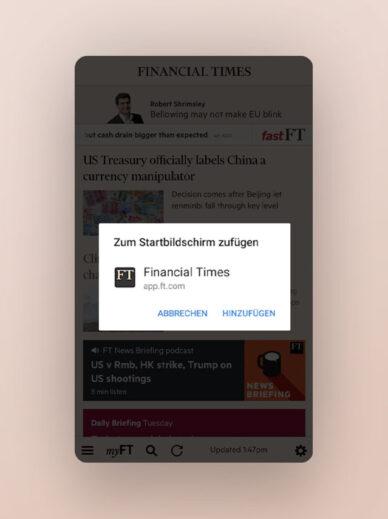 Popup der Financial Times zeigt, dass die mobile Site eine PWA ist.