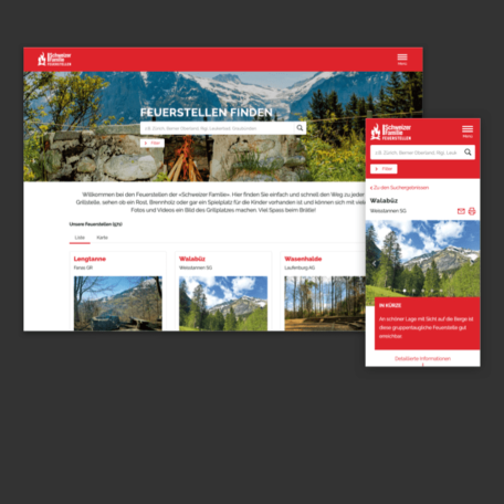 Schweizer Familie Feuerstellen Website Ausschnitt